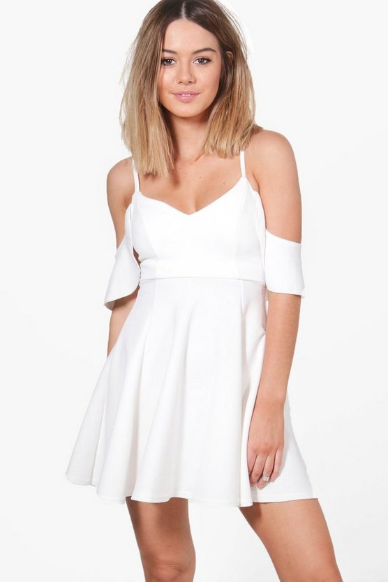 Petite Abi Strappy Drop Shoulder Skater Dress
