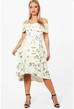 Plus Elizabeth Deep Bardot Floral Dip Back Midi Dress