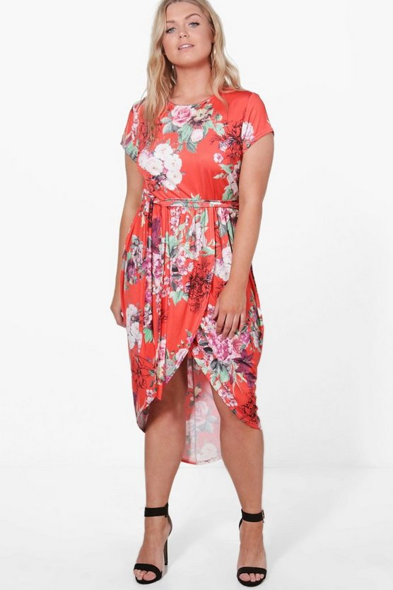 Plus Lydia Floral Wrap Front Midaxi Dress