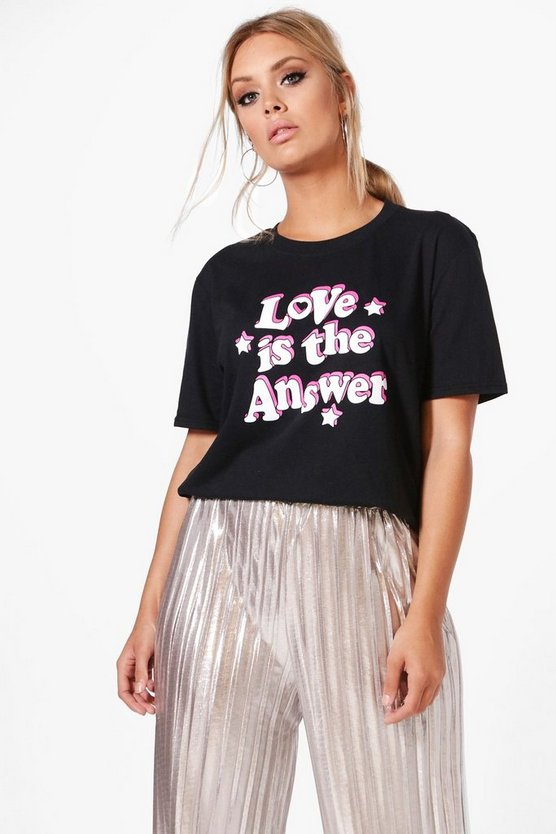 Plus Caira Love Slogan Tee