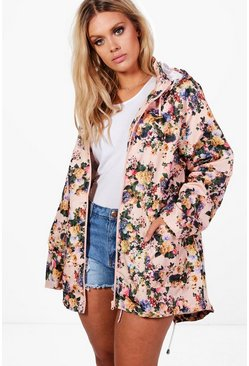 Plus Felicity Floral Print Hooded Mac