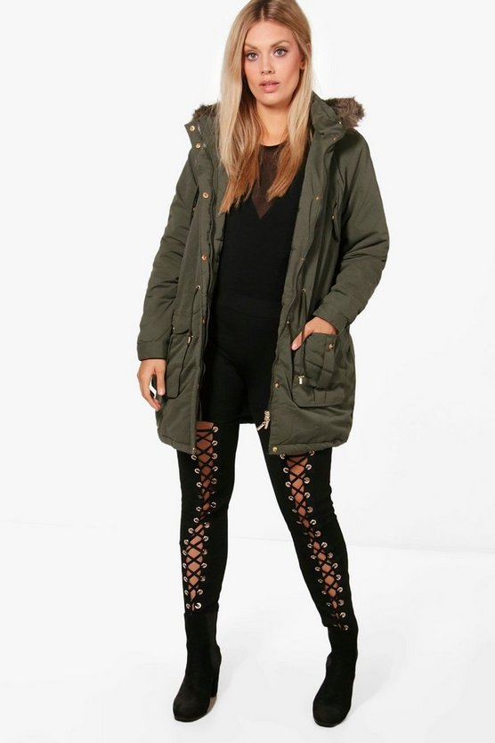 Plus Aimee Adjustable Waist Parka