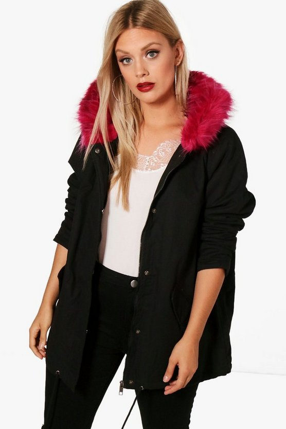 Plus Alexandra Pink Faux Fur Trim Parka