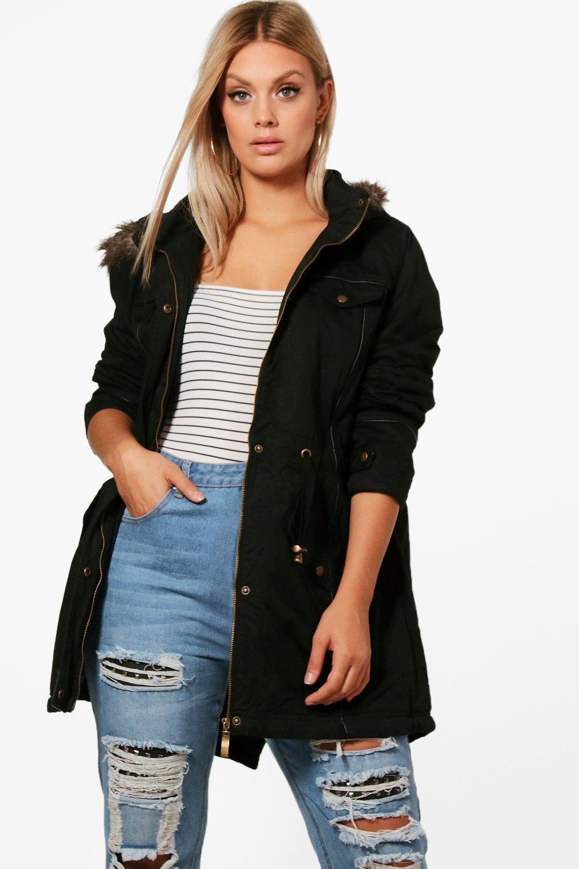 Alexia Cotton Twill Parka Coat - black