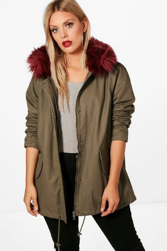 Plus Alice Burgundy Faux Fur Trim Parka