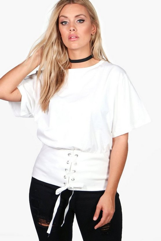 Plus Emilie Lace Up Belted Bodice Tee