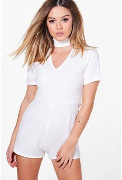 Petite Julia Choker Plunge Neck Playsuit
