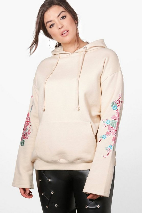 Plus Keira Embroidered Oversized Hooded Sweat