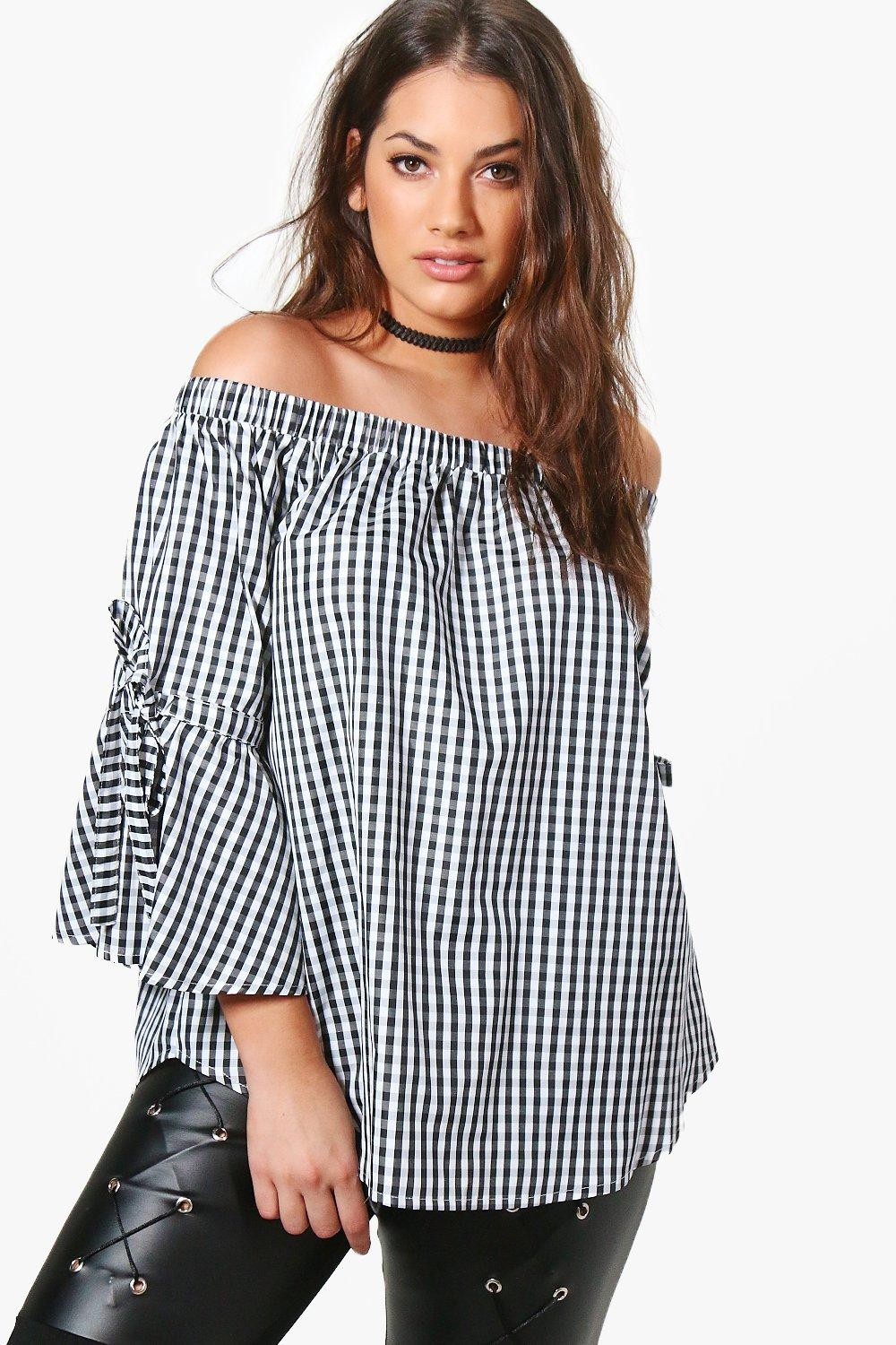 Image result for boohoo plus fiona off the shoulder gingham tie sleeve top