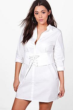 Plus Lola Corset Shirt Dress