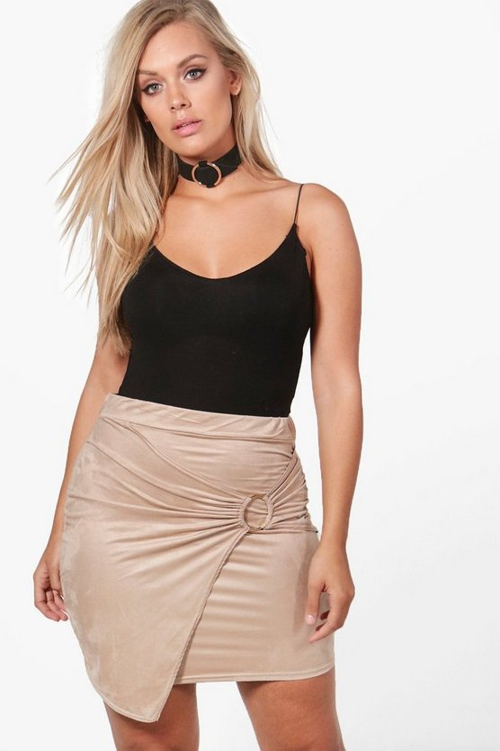 Plus Harriet Suedette Wrap O-Ring Mini Skirt