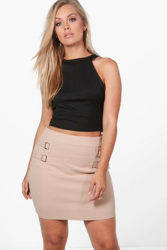 Plus Mandy Buckle Detail Mini Skirt