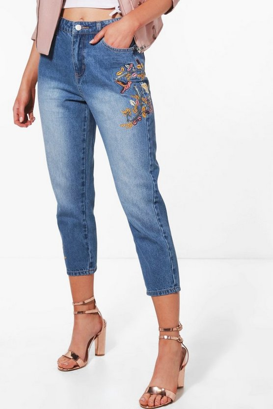 Petite Sophia Embroidered Mom Jean