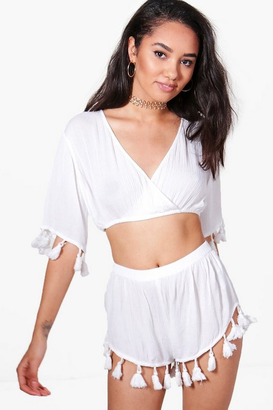 Petite Nicola Tassel Cross Over Beach Co-ord