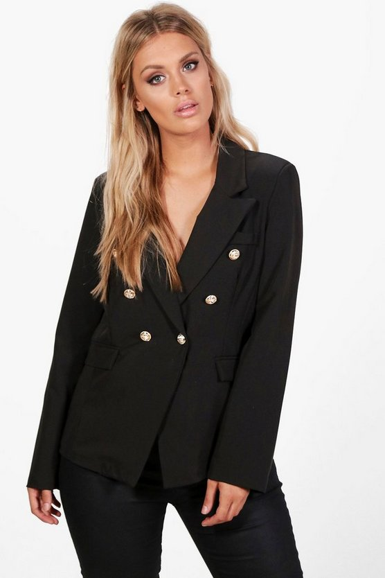 Plus Joanne Button Detail Blazer