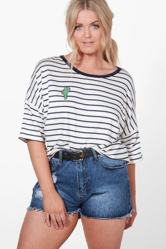 Plus Sasha Striped Cactus T-shirt