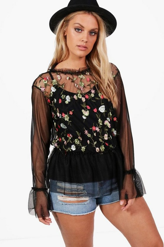 Plus Leanne Embroidered Frill Hem Top