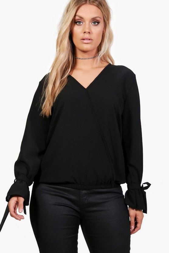 Plus Julia Wrap Front Tie Detail Blouse