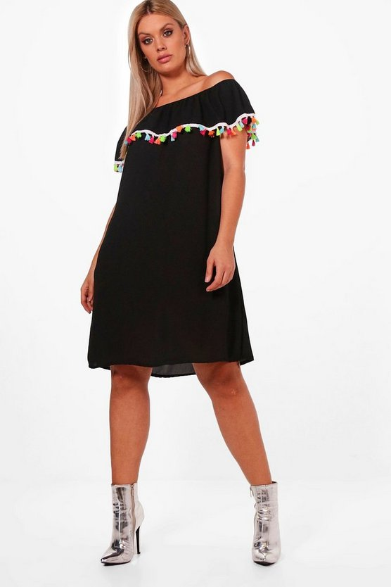 Plus Juliet Pom Pom Trim Off The Shoulder Dress