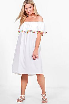 Plus Juliet Pom Pom Trim Off The Shoulder Dress