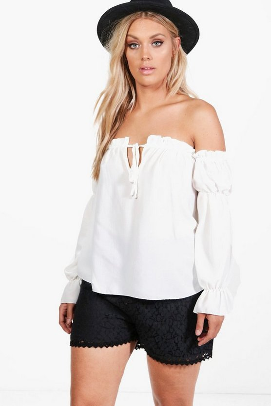 Plus Marissa Ruffle Detail Off The Shoulder Top
