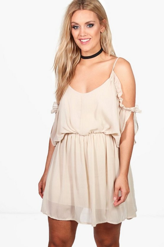 Plus Becki Open Shoulder Frill Dress