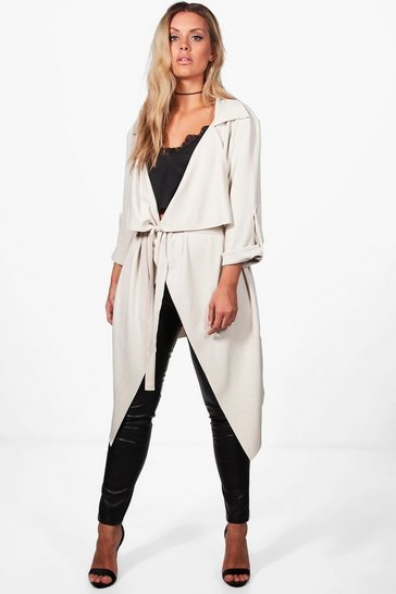 Stone Plus Daisy Belted Waterfall Duster Coat