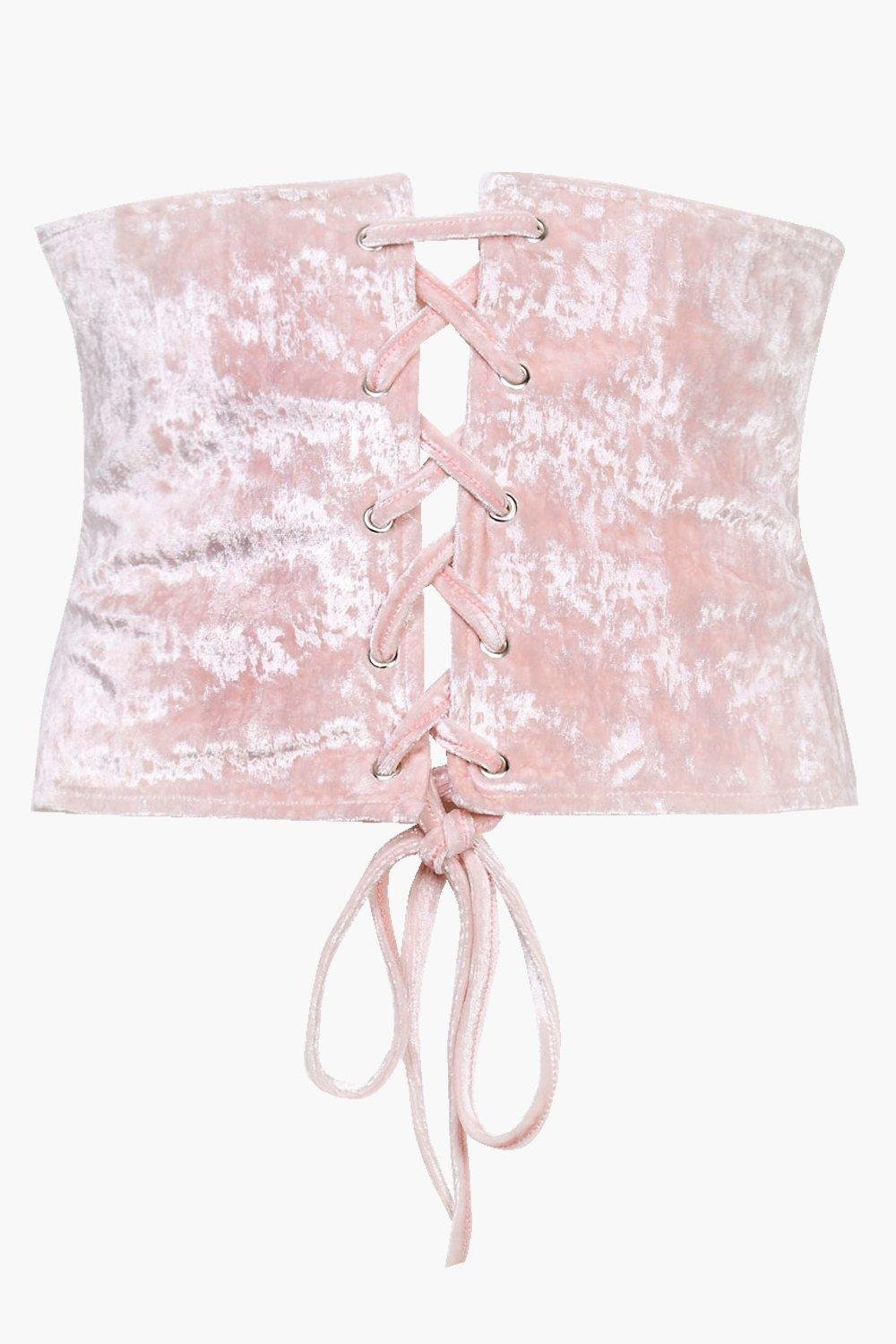 Leanne Velvet Lace Up Corset - nude - Plus Leanne