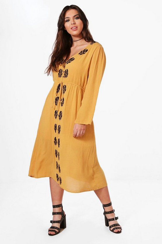 Plus Tilly Contrast Woven Embroidered Midi Dress
