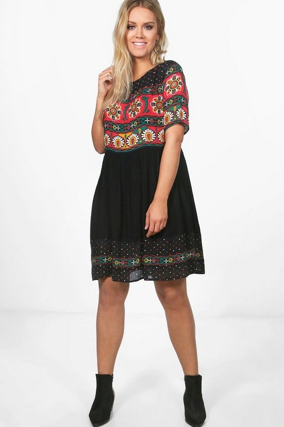 Plus Retro Print Midi Dress