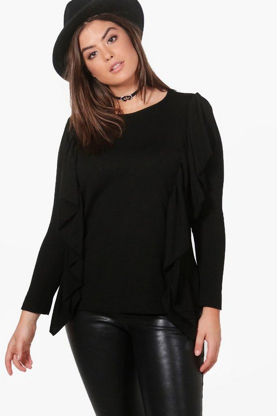Plus Kelly Ruffle Front Knitted Top