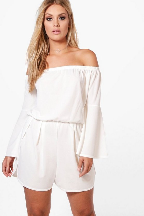 Plus Maria Off The Shoulder Flared Sleeve Playsuit