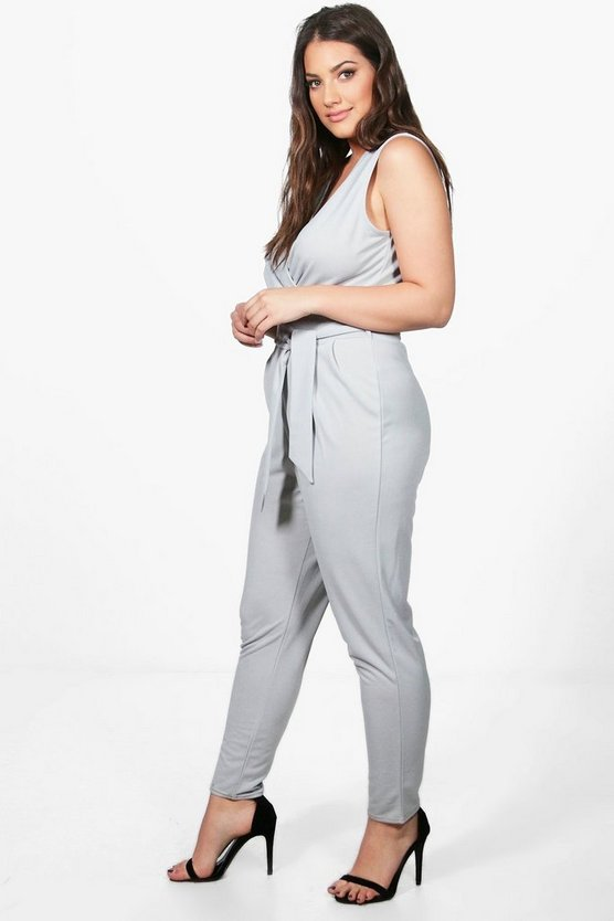 Plus Melissa Wrap Front Belted Jumpsuit