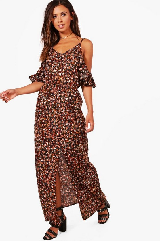 Petite Isabella Cold Shoulder Printed Maxi Dress