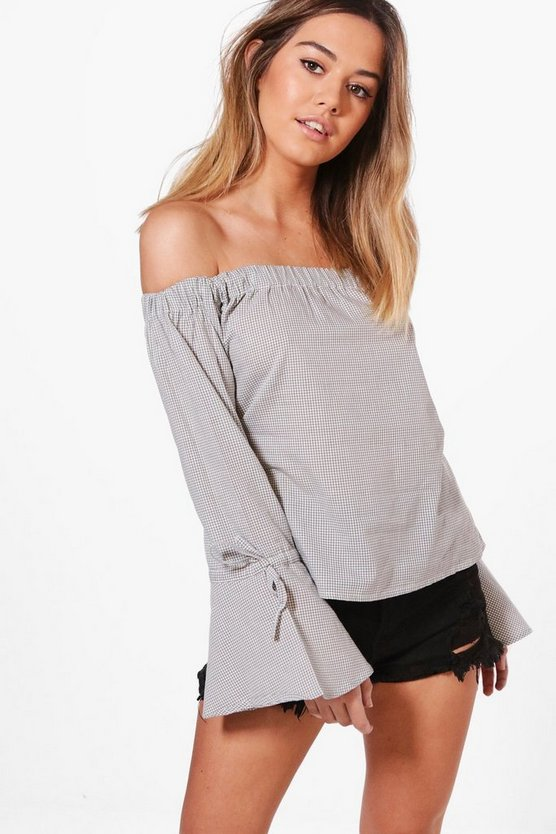 Petite Georgina Gingham Off The Shoulder Top