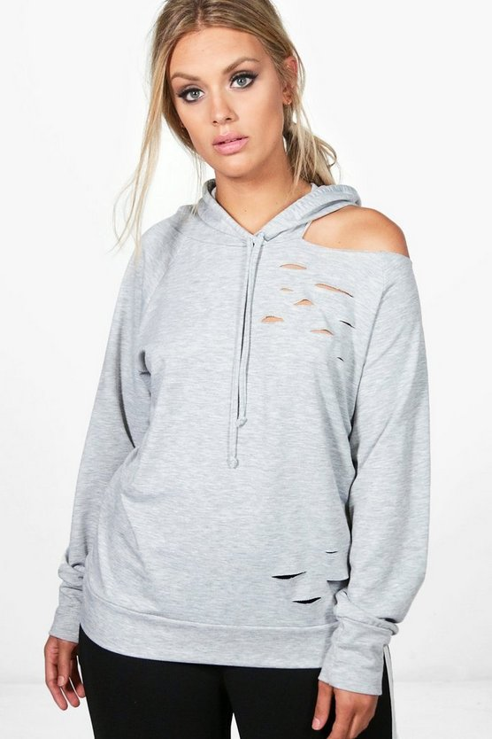 Plus Cate Distressed Cut Out Hoodie