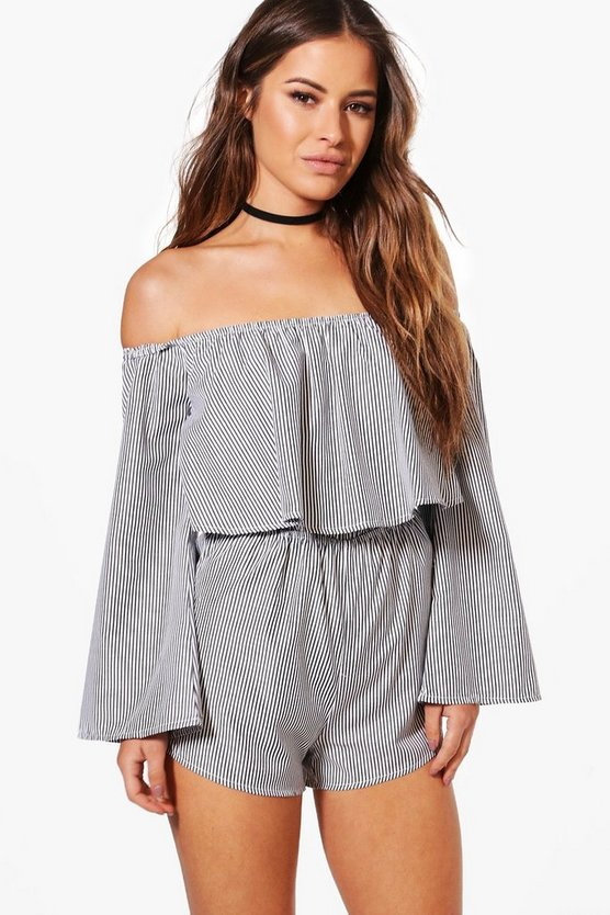Petite Izzy Woven Stripe Off The Shoulder Playsuit