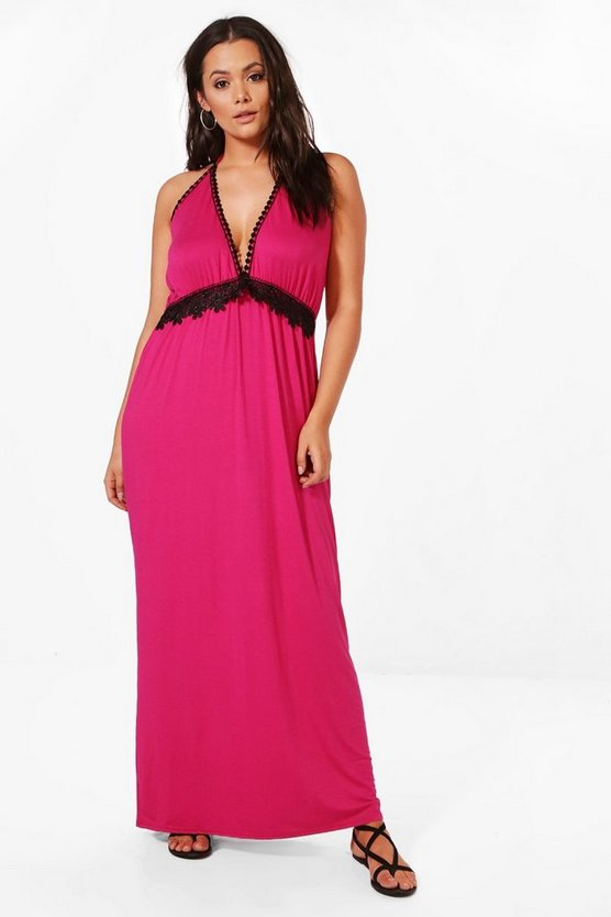 Plus Stella Crochet Insert Plunge Maxi Dress