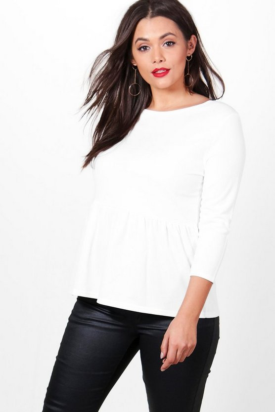 Plus Nadia Ruffle Hem 3/4 Sleeve Top