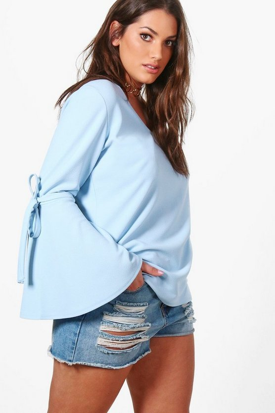 Plus Kirsty Crepe Tie Sleeve Detail Top