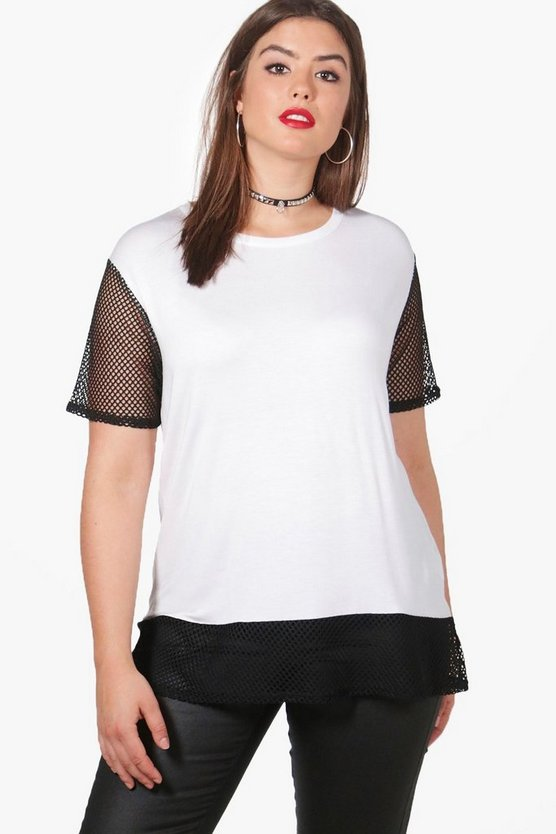 Plus Hollie Oversized Mesh T-shirt