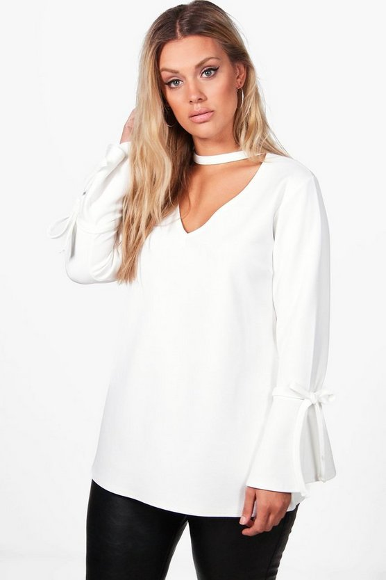 Plus Lola Plunge Neck Crepe Tie Sleeve Top