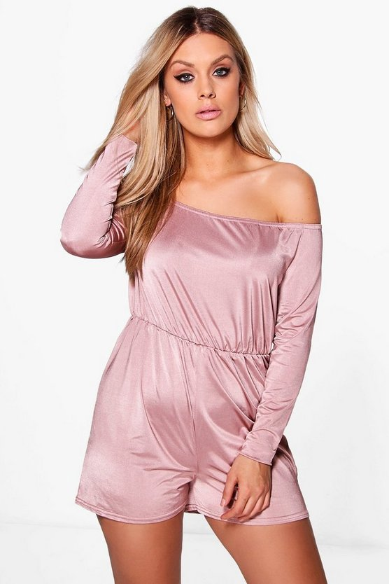 Plus Poppy Off The Shoulder Slinky Playsuit