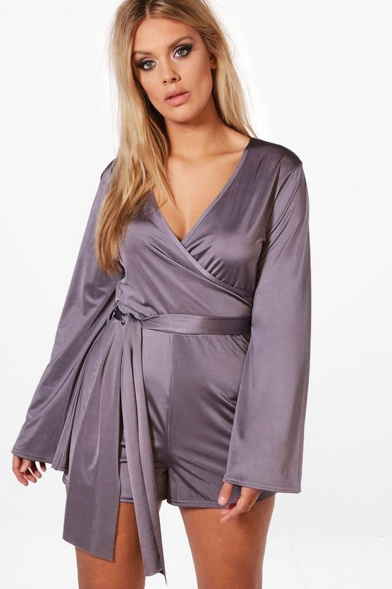 Plus Alana Slinky Flared Sleeve Tie Playsuit