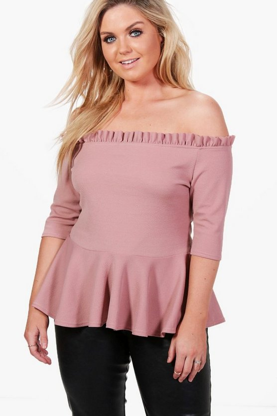 Plus Jessica Off The Shoulder Frill Peplum Top