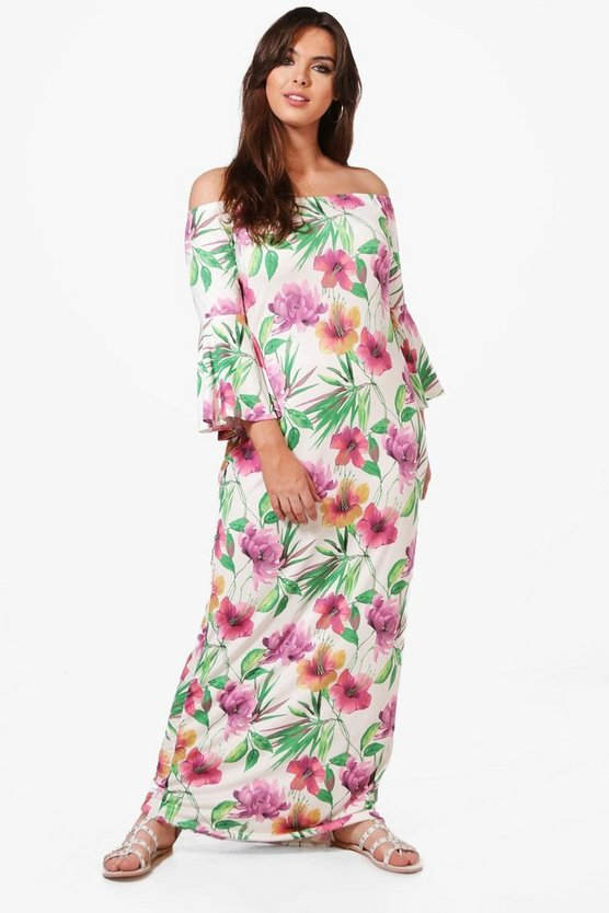Plus Ava Off The Shoulder Tropical Printed Maxi Dress