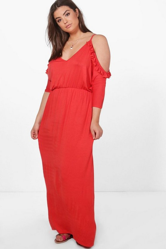 Plus Open Shoulder Ruffle Maxi Dress