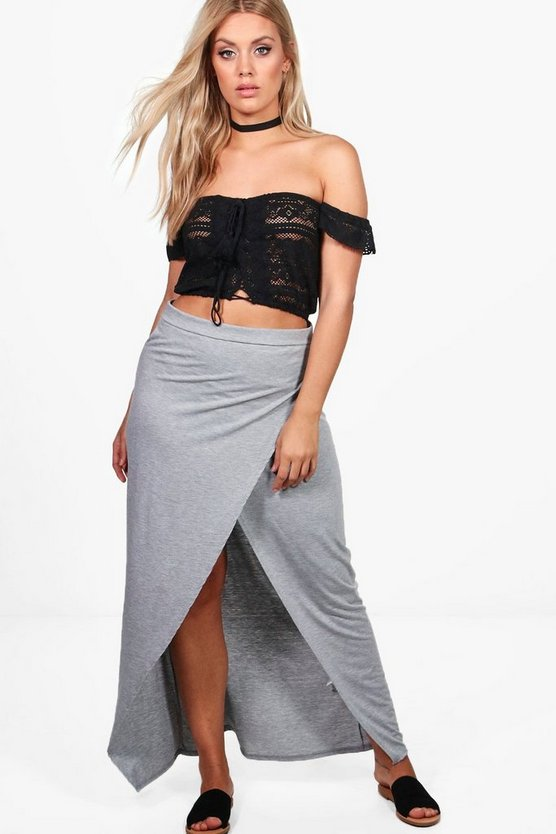 Plus Sasha Wrap Split Front Maxi Skirt