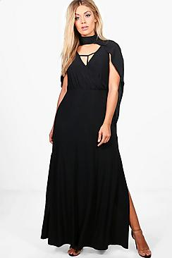 Plus Georgina Cape Wrap Front Maxi Dress