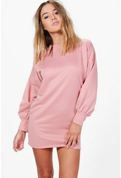 Petite Lily Blouson Sleeve Oversized Sweat Dress